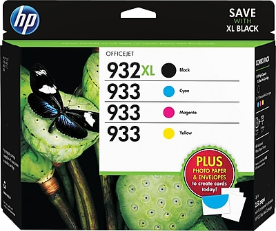 HP 932XL/933 Ink Cartridges w/Media Value Kit, High-Yield Black and Standard C/M/Y, 4/Pack (D8J69FN#140) (DISCONTINUED)
