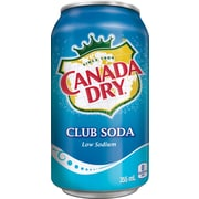 Canada Dry Club Soda, Low Sodium, 355 mL Cans, 12/Pack