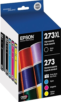 Epson 273XL/273 High Yield Black and Standard Photo Black and Color C/M/Y Ink Cartridges (T273XL-BCS), Combo 5/Pack