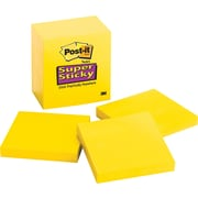 "Post-it® Super Sticky Notes, 3"" x 3"", Electric Yellow, 5 Pads/Pack (6545SSY)"