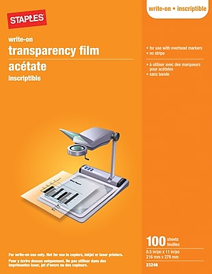 """Staples® Write-On Transparency Film, 100 Sheets, 8.5"""" x 11"""""""