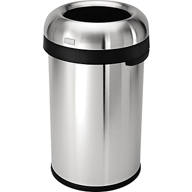 Simplehuman® Bullet Open Trash Can, Brushed Stainless Steel, 21 Gallon