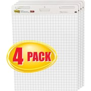 """Post-it® Self-Stick Easel Pads, Value Pack, 30 Sheets, Grid, White, 30""""H x 25""""W, 4/Pack (560VAD4PK)"""