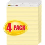 """Post-it® Self-Stick Easel Pad, Value Pack, 30 Sheets, Ruled, Yellow, 30""""H x 25""""W, 4/Pack (561VAD4PK)"""
