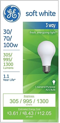 GE 3-Way Light Bulb, 30/70/100 watt, Incandescent, Soft white, 1/Pk