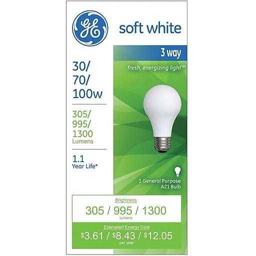 Ge 3 Way Light Bulb 30 70 100 Watt Incandescent Soft White 1 Pk Staples