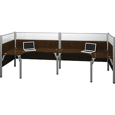 Bestar Pro-Biz Office System Double Back-to-Back L-Desk Workstation, Full Wall, Chocolate