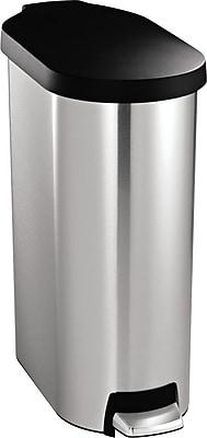 simplehuman Slim Step Trash Can, Stainless Steel w/ Black Plastic Lid, 12 Gallon