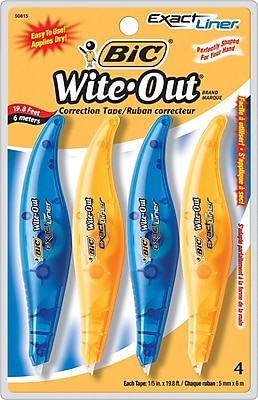 BIC® Wite-Out® Brand Exact Liner® Correction Tape, 4/Pack