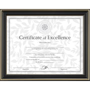 "Dax Document Frame with Certificate, Gold/Black, 8 1/2"" x 11"""