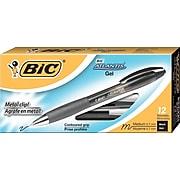 BIC Atlantis Gel Pen, Medium Point, Black Ink, Dozen (BIC-RATG11-BLK)