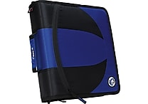 Case•it Dual-101 Blue 2-in-1 1/2' D-Ring Zipper Binder with Hold Down Pages