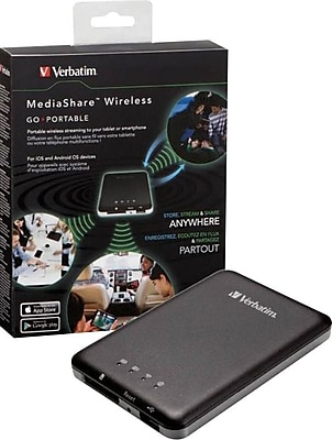 Verbatim MediaShare Wireless Portable Streaming Device for Tablets, Smartphones