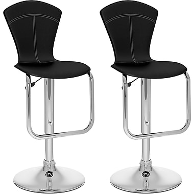 CorLiving™ Tapered Full Back Adjustable Bar Stool, Black Leatherette, set of 2