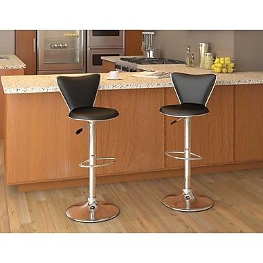 CorLiving™ Tall Curved Back Adjustable Bar Stool, Black Leatherette, set of 2