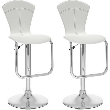 CorLivingMC – Tabouret de bar ajustable à dossier conique, similicuir blanc, ensemble de 2