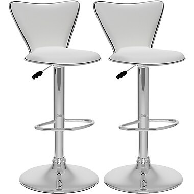 CorLiving™ Tall Curved Back Adjustable Bar Stool, White Leatherette, set of 2