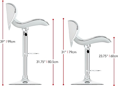 CorLiving Not available 41'' Contemporary Adjustable Height Faux Leather Bar Stool, White (B-512-VPD)