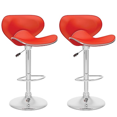 CorLiving™ Curved Form Fitting Adjustable Bar Stool, Red Leatherette, set of 2