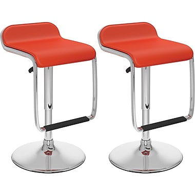 CorLivingMC – Tabouret de bar ajustable avec repose-pied, similicuir rouge, ensemble de 2