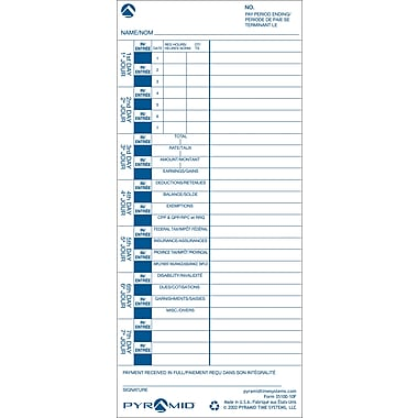 Pyramid™ 35100-10 French/English Time Cards for 3000 Series Time Recorders, 1,000/Case