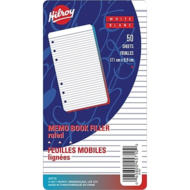 Hilroy® Memo Ruled Refill Paper, 6 - 3/4