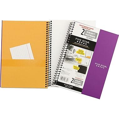 Five Star® Wirebound Premium Heavyweight Paper Notebook, 2 Subject, 6