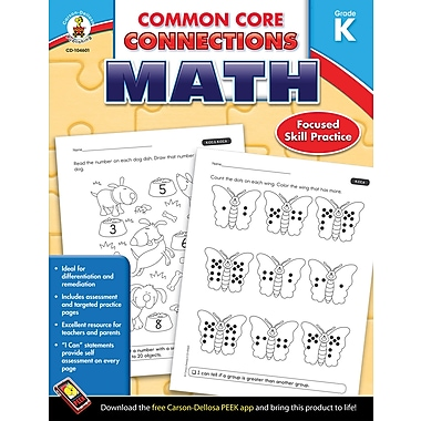 Carson-Dellosa Common Core Connections Math Workbook, Grade K, Ages 5-6, 96 Pages
