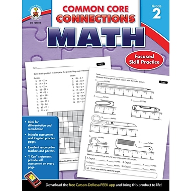 Carson-Dellosa Common Core Connections Math Workbook, Grade 2, Ages 7-8, 96 Pages