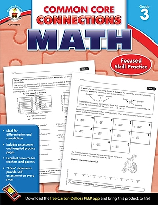Carson-Dellosa Common Core Connections Math Workbook, Grade 3, Ages 8-9, 96 Pages