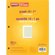 "Staples Refill Paper, Graph 10:1"", 8 - 3/8"" x 10 - 7/8"", 20 Sheets, 3 Hole"