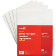 Staples Letter Size Narrow Ruled White Paper Pads, 96 Sheets, 5/Pack