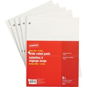 Staples Letter Size Wide Ruled White Paper Pads, 96 Sheets, 3 Hole, 5/Pack