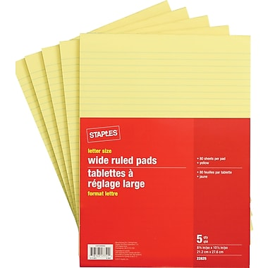 Staples® Letter Size Wide Ruled Yellow Paper Pads, 80 Sheets, 5/Pack