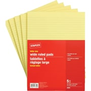 Staples Letter Size Wide Ruled Yellow Paper Pads, 80 Sheets, 5/Pack