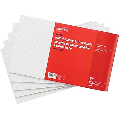 Staples® Legal Size Quad Ruled White Paper Pads, 96 Sheets, 5/Pack
