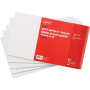 Staples Legal Size Quad Ruled White Paper Pads, 96 Sheets, 5/Pack