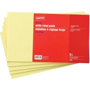 Staples Legal Size Wide Ruled Yellow Paper Pads, 90 Sheets, 5/Pack