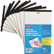 "Staples 5"" x 8"" Perforated Wide Ruled White Paper Pads, 50 Sheets, 10/Pack"