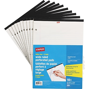 Staples® Personal Size Perforated Wide Ruled White Paper Pads, 3 Hole, 50 Sheets, 10/Pack