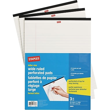 Staples® Letter Size Perforated Wide Ruled White Paper Pads, 50 Sheets, 3/Pack