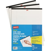 Staples Letter Size Perforated Wide Ruled White Paper Pads, 50 Sheets, 3/Pack