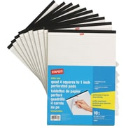 Staples Lettr Size Perforated Quad Ruled White Paper Pads, 50 Sheets, 10/Pack