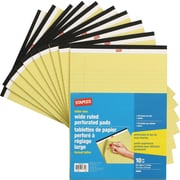Staples Letter Size Perforated Wide Ruled Yellow Paper Pads, 50 Sheets, 10/Pack