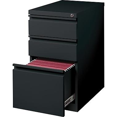Hirsh – Classeur mobile de type caisson à 3 tiroirs, 23 po de profondeur, noir