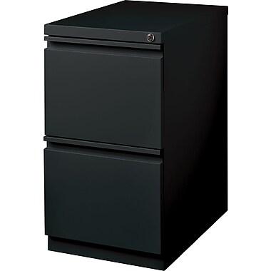Hirsh – Classeur mobile de type caisson à 2 tiroirs, 20 po de profondeur, noir