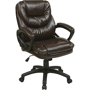 Office Star Worksmart Manager's High-Back Faux Leather Chair, Chocolate