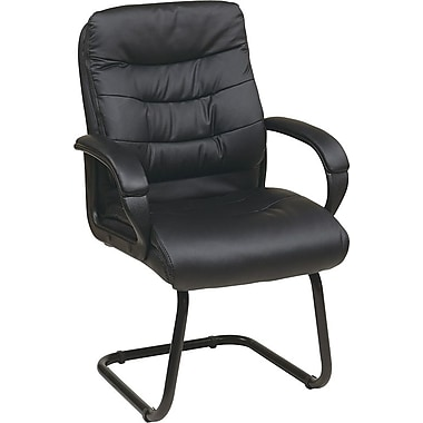 Office Star Worksmart Faux Leather Visitor's Chair with Padded Arms and Sled Base, Black