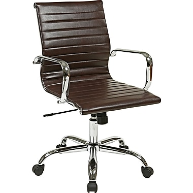 Office Star Worksmart Executive Mid-Back Faux Leather Chair with Built-in Lumbar Support, Chocolate