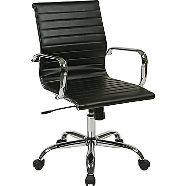Office Star Worksmart Executive Mid-Back Faux Leather Chair with Built-in Lumbar Support, Black